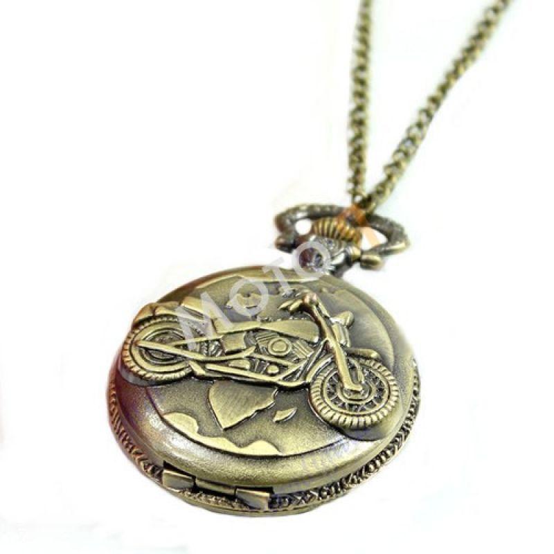 Карманные часы с мотоциклом (нержавеющая сталь)