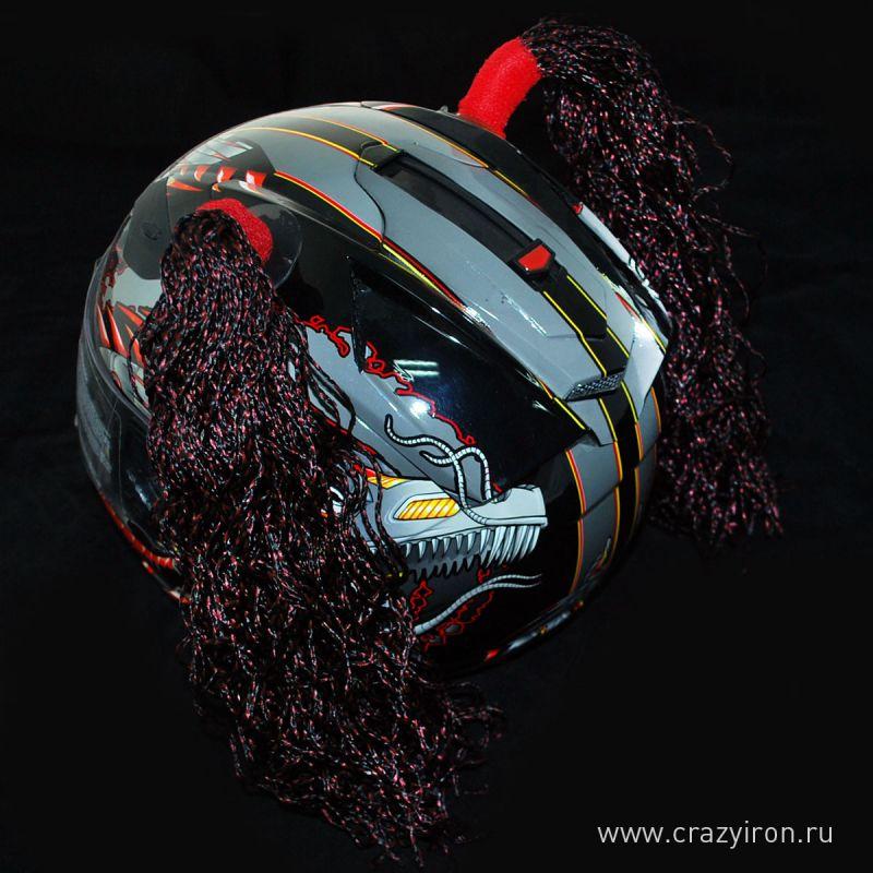 CRAZY IRON Косички на шлем брюне...